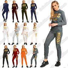 New Ladies Gold Foil Boss Lady Print Fleece Top Bottom Lounge Wear Set Tracksuit