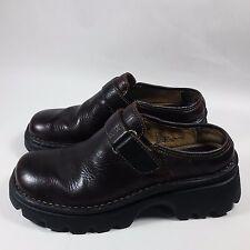 NICE Women's Bjorndal Slip-On Low Heels Slides Walking Brown Leather Shoes-7.5 M