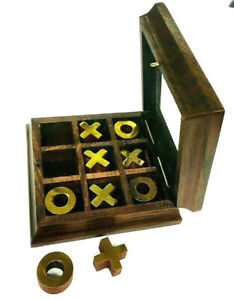 Wooden travel noughts & crosses set in wooden box