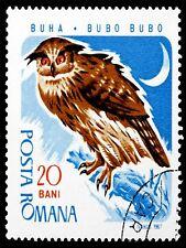 PRINT POSTER POSTAGE STAMP ROMANIA 20 BANI EAGLE OWL POSTMARKED MOON LFMP0145