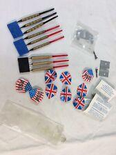 (9) Darts Total - (3) Steel (6) Plastic Tip Darts American, British Flags