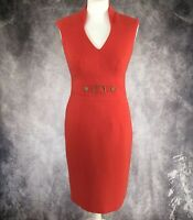 MARKS & SPENCER Cherry Red Pencil Dress Gold Buckle Size 8 Wiggle Office Smart