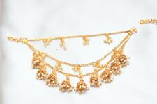 Indian Wedding Bollywood Partywear Gold Tone Earrings Kaan Chain Fashion Jewelry