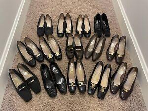 LOT of 14 SALVATORE FERRAGAMO Leather Shoes Flats Pumps WOMENS 9 Narrow ITALY
