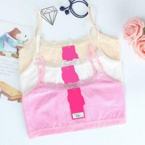 Girls Young Lace Bra Puberty Soft Cotton Underwear Training Bra Solid Clothes