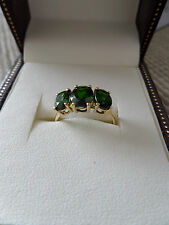 Stunning GREEN CHROME DIOPSIDE TRILOGY RING -  10k GOLD - Size 7 N/O