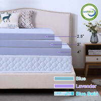 2.5/3/4 Inch Gel Memory Foam Mattress Topper Twin Full Queen King Ventilated Dot