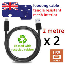 2X NEW Reversible USB A to USB C Cables BLACK 2M- QUALCOMM- FAST SHIPPING