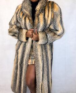 Real Fur Genuine Gray Fox Fur Vintage Long Coat Jacket M L Z2
