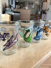 Vintage 1988 Welch's Jelly Glasses Dinosaurs Complete Set of 4 in New Condition