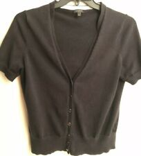 Womens Talbots Large Black V Neck Button Down Short Sleeve Sweater Top #149