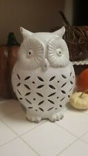 Pottery Barn Punched Ceramic Owl Luminary FALL HTF! White Lantern Candle holder