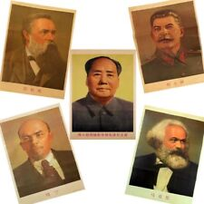 Full Set of China Cultural Revolution 5 Communist Leaders Propaganda Poster