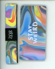 Medium ZOX Silver Singles Strap STAY WEIRD Wristband with Card Reversible