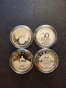 ROMANIA Lot 4 x 50 bani 2017 coin Brass coins ROMANIAN Rumänien PROOF few minted