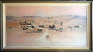 Rex Newell (1939-2016) 1980 Huge Major Original Oil Painting Road to Stuart Town
