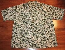 TOMMY BAHAMA MENS LARGE SHIRT HAWAIIAN  GREEN/ WHITE FLORAL SHIRT