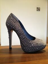 NEXT Stunning Sexy Grey Suede Silver Studs Sparkle High Heels Shoes Size 3.5 NEW