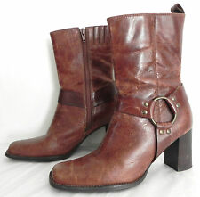 Bass Boots Mid Calf Distressed Leather Uppers Brown Tone  Size 6.5 M