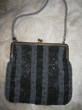 Antique 1940's small black grey bronze X beaded purse w metal frame
