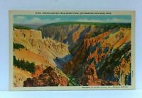 Wyoming Yellowstone National Park Grand Canyon From Grand View Linen Postcard