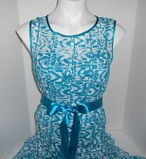 Womens Dress S White Teal Lace Below Knee Sleeveless Christopher & Banks NWT