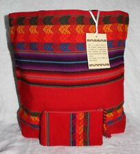 PERUVIAN HANDMADE SHOULDER BAG TOTE HOBO MANTA RED AND POUCH NEW (#1.1)