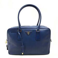 PRADA Saffiano Mini Duffle Bag Hand Bag Blue Leather BL0095