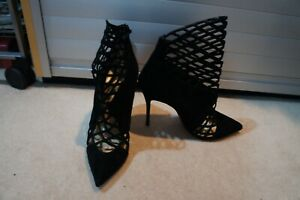 Christian Louboutin black suede laser cut ankle boots sz 39 UK 6