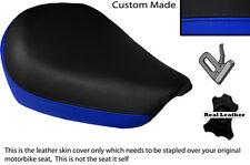 Negro Y Azul Real Custom encaja Suzuki Gz 125 Marauder Frontal De Cuero Funda De Asiento