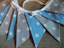 Blue and Grey with white stars bunting- 6ft or 9ft- double sided/100% cotton