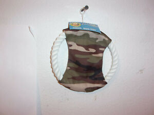 """BRAND NEW """"PAWS & CLAWS"""" DOG TAN CAMO CANVAS FLYING 6"""" DISC w/ ROPE TOY.."""