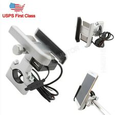 Silver Cell Phone Holder USB Charger for Harley Davidson Touring Motorcycle US