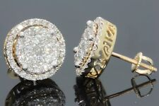 Men's & Women's Yellow Gold Finish 1.50 CT Lab Diamond Micro Pave Earrings Studs