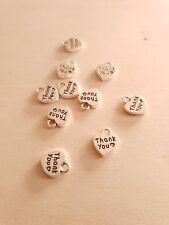 10 Herz Anhänger THANK YOU ♥ Danke * Schmuckzubehör Basteln Deko Charms Silber