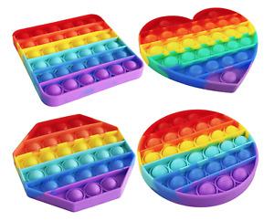 [4 PACK] Rainbow Popit Fidget it Pop Toy Push Bubble Sensory Set Stress Relief