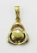 18k Yellow Gold Circle inside Triangle Charm Necklace Pendant ~ 1.2g