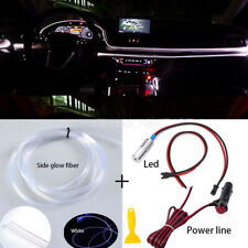 Skirt Side Glow Fiber Optic Cable LED Light Power Supply Car Interior Decor Kit