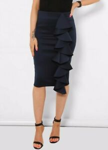 NAVY CASUAL PENCIL TUBE WIGGLE FRILL FEATURE STRETCH KNEE SKIRT SIZE 10-20