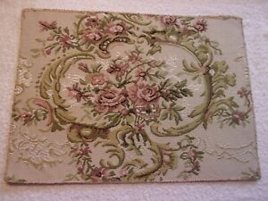 Antique Look  DOLLHOUSE  MINIATURE  RUG,  Victorian Roses and Scrolls,  Handmade