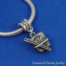 Silver CHINESE TAKEOUT BOX Food Dangle Bead CHARM fits EUROPEAN Bracelet
