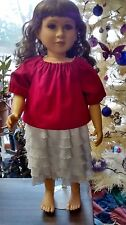 Cherry Pink top and white ruffled skirt fits 23 inch My Twinn doll handmade New