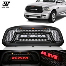 Mesh Grille Rebel Red Letter Front Grill LED Light Fit 2013-2018 Dodge Ram 1500