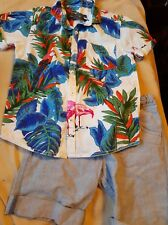 Boys Bright Summer Parrot Shirt and Shorts Outfit Size 4-5 Years