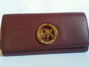 Michael kors fulton flap continental long wallet plum