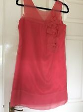 KOOKAI CORAL PURE SILK AUDREY SHIFT DRESS FRESIA SIZE 10 (38) WORN ONCE ONLY