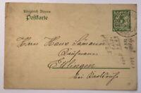 Ganzsache Bayern Bahnpost n. Ettlingen siehe Bild 1910