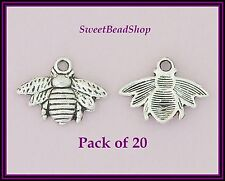 20 Antique Silver Colour 21 x 16mm Cute Bee Charms
