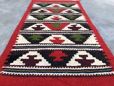 Authentic Hand Knotted Vintage Turkish Wool Kilim Kilm Area Rug 2 x 1 Ft