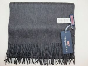 NWT $78 VINEYARD VINES 12x65 Men's Charcoal Heather 100% MERINO Wool Scarf